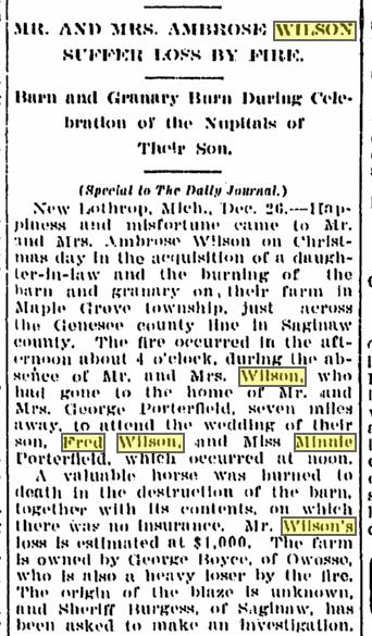While At Wedding, Flint Daily Journal, 26 Dec 1906, p. 1, col. 2, par. 4.
